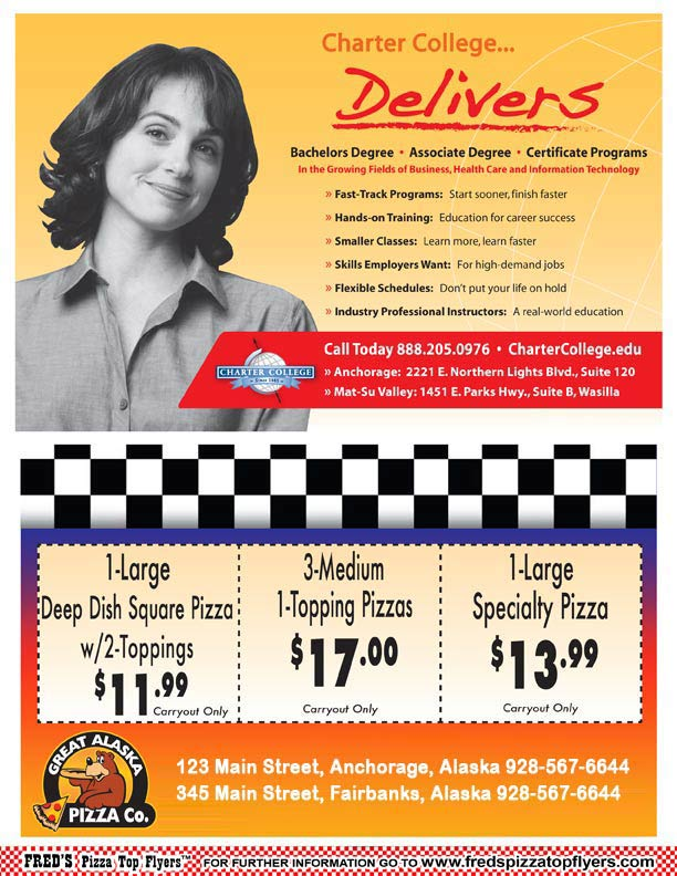 Fred's Pizza Box Top Flyers Specialty Advertising